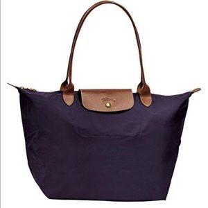 Handbags - Longchamp Le Pilage in Bilberry